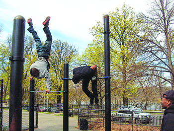 The members of Barstarzz use local outdoor park spaces for their training.