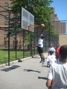 """Participants at the annual """"Dunk the Junk"""" nutrition and health fair participated in physical activities such as basketball."""