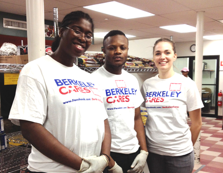 As past of the Berkeley Cares initiative, students and associates of Berkeley College volunteered at the Community Kitchen and Pantry of West Harlem. Left to right are Berkeley College students Rahinat Emily Koti of the central Bronx, NY; and international students Alusine Kann and Rebecka Svensson, both of Manhattan, NY, and Stockholm, Sweden.