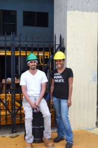2013 Parsons School of Design students Amy Obonaga and Rahul Shah stand before the new recreation space they have been building at Highbridge Park.