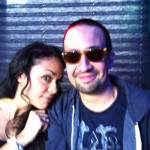 """""""In the Heights"""" Broadway stars Karen Olivo and Lin-Manuel Miranda smile during the """"Party Bus"""" ride up to New Haven."""