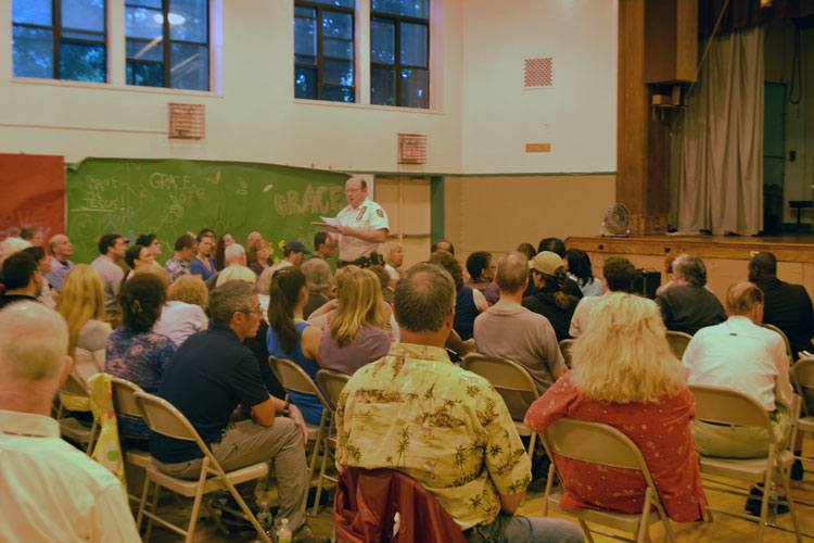 Deputy Inspector Barry Buzzetti, the Commanding Officer of the 34th Precinct, held a public meeting with local residents who voiced concerns with violent crime in the area.