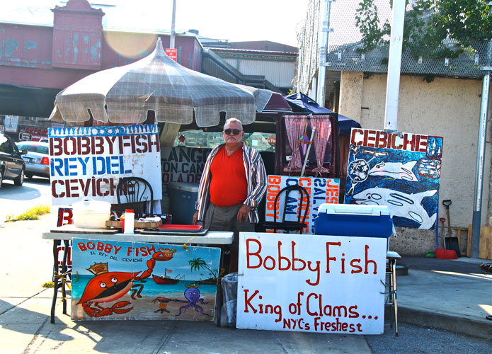 Bobby Fish has been selling his trademark ceviche, the seafood dish in which raw, fresh seafood is marinated in citric juice, from his van on Tenth Avenue for over 39 years.