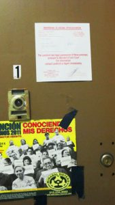 The eviction notice on the Montealegre's family's home on Amsterdam Avenue.