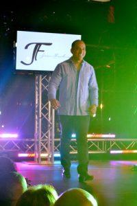 Emilio Suarez, owner of Umbrella Lounge, modeled an indigo chacabana.
