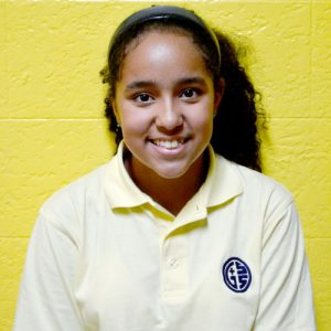 """Seventh grader Daniela LeBron is glad to see students returning to Good Shepherd School. """"It's good to see [them]."""""""