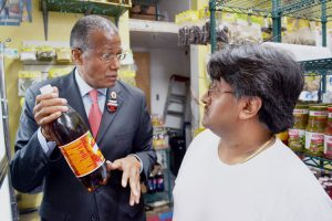 """Councilmember Robert Jackson, who conducted tours in his district on the issue, criticized the soda ban as having an arbitrary effect on local businesses. """"It doesn't make sense,"""" he said. Photo: Sandra García"""