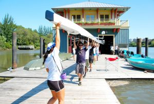 Row New York, a non-profit organization that works to provide greater access to the city's waterfront with rowing programs for underprivileged youths, has come to the Sharp Boathouse.