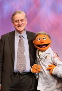 Valentin Fuster, MD, PhD, Director of Mount Sinai Heart, left, is the inspiration for Muppet Dr. Ruster on Barrio Sésamo: Monstrous Supersanos, the Spanish version of Sesame Street.