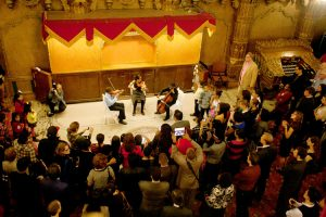 Three students from Harmony's Brooklyn program performed in a string trio.