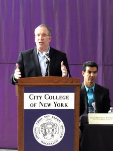 "Manhattan Borough President Scott Stringer spoke at the education conference organized at City College, expressing concern, ""Everybody has to come together to educate our students."""