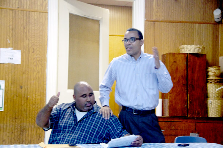 Corey Ortega (left, seated) and Thomas Lopez-Pierre (standing) have both declared their candidacies for northern Manhattan's new City Council District 7.