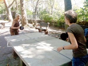 Nancy Bruning and friend Marianne Prebet enjoy the newly resurfaced ping-pong tables at the 190th Street Subway Terrace. Photo: Ingrid Menendez