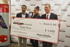 Krystal Franco was awarded a $1,000 grant and a Samsung Tablet 7.0 4G LT. Presenting her with her prizes are Verizon Wireless's Fernando Molinar (left) and Pat Berlin (right).