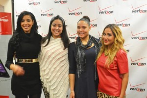 The Empire Girls stars Julissa Bermúdez (far left) and Adrienne Bailon (far right) join with Verizon Wireless Día de Tus Sueños' sweepstakes winner Krystal Franco (third from left) and her sister Margarita Franco at the store on Broadway.