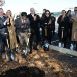 Wayne Park, President and CEO of LG Electronics USA (left) celebrated the ceremonial planting of the first of 700 new trees that will grow at the future headquarters site. Photo: LG Electronics USA