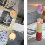 A memorial sprang up outside the theater.
