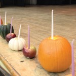 For the Thanksgivukkah celebration at the Y, the menorahs were made of squash. Photo: The Nagle Y