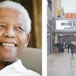 The Apollo Theater's marquee bore a tribute to Nelson Mandela.