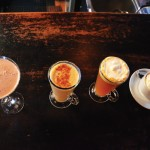 New Leaf's arsenal of special winter libations (left to right): Mint Chocolate Martini, New Leaf Nog, Adam's Ruin and the hand-churned hot chocolate.