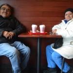 Regular patrons Camilo and Gloria López enjoy their coffee.