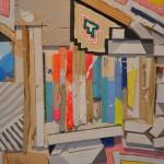 Cordy Ryman's colorful encaustic on wood piece.