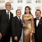 From left to right: Rafael Toro, Director of Public Relations, Goya Foods; Tony Plana, Actor and Cielo Latino Emcee; Gabriela Isler, Miss Universe and 2014 Madrina of the Commission; and Chacón.