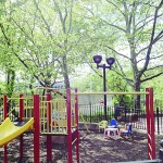 The small playground is geared specifically for young children age five and under.