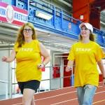 Kelsi Klatzky (left) and Jenny Neuhart get moving.