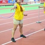 Volunteer Heidy Z shows off her hula hoop skills.