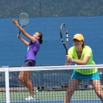 """""""I really wanted to win,"""" said Marina Oetiker (left) with teammate Francesca Fanchin."""