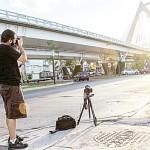 Photographing Matute Remus Bridge in Guadalajara. Photo: Alexandra Vega