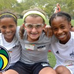 Dedicated players (from left to right) Malia, Chloe and Nyla joined the Cosmos clinic.