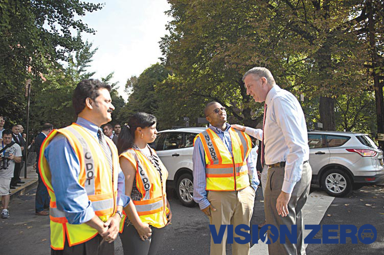 """""""Our kids are going to be safer walking to school and coming home,"""" said Mayor Bill de Blasio."""