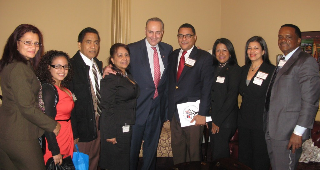 DANR members with New York Senator Chuck Schumer (center).