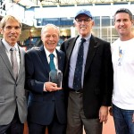 From left to right: Peter Ciaccia, Chief Production Officer, NYRR; Dr. Norbert Sander, Abebe Bikila Award recipient; Mike Frankfurt, NYRR board member; and Joseph King, Head of TCS North American Marketing and Communications. Photo: NYRR