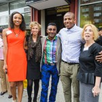 From left to right: Helene Abiola, Community Healthy Food Advocate at WHGA; Colleen Flynn, Director at LISC; Marcus Samuelsson, chef/restaurateur; Jeremy Abolade, LISC AmeriCorps Food Access Outreach Coordinator; and Deborah Pollock, Director of Social Services at WHGA.