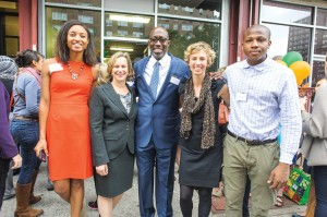 From left to right: Helene Abiola, WHGA Community Healthy Food Advocate; Laurie M. Tisch, President of the Laurie M. Tisch Illumination Fund; Donald Notice, WHGA Executive Director; Colleen Flynn Director at LISC; and Jeremy Abolade, LISC AmeriCorps Food Access Outreach Coordinator.