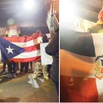 An uptown protest featured the flags of Puerto Rico and the Dominican Republic.