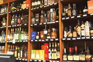 There is an extensive collection of spirits.