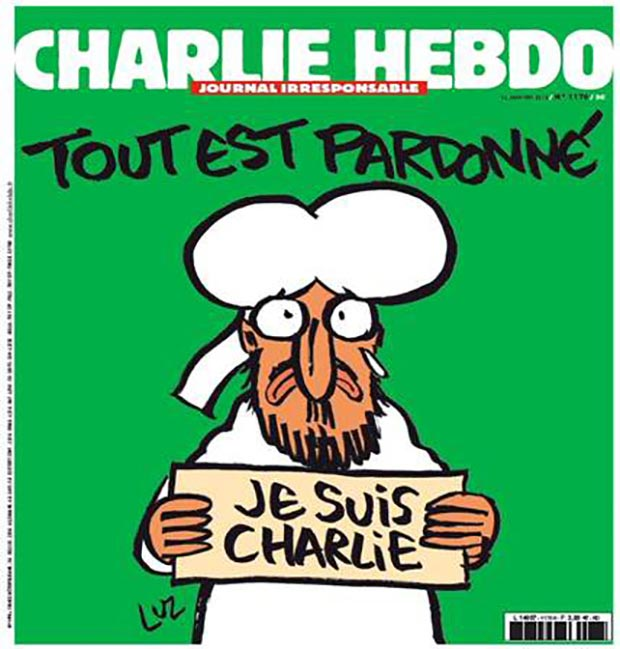 "The latest cover of Charlie Hebdo, released Mon., Jan 12th; it reads ""All is forgiven."""