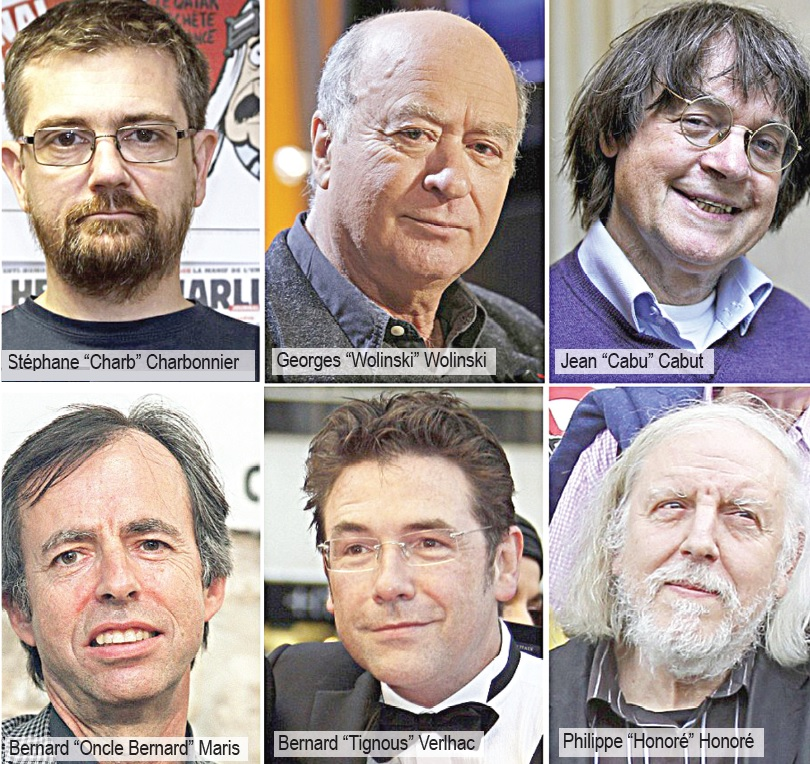 Charlie Hebdo cartoonists killed in the attack.
