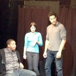 A Slight Change to the Script, with actors (left to right) Tosh Hall, Sarah Medved and Benjamin Bailey.