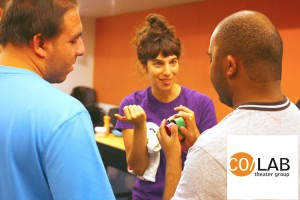 """""""We create a really positive atmosphere,"""" says CO/LAB Theater Group co-founder Arielle Lever (in purple shirt)."""