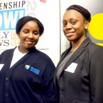 """""""This [has been] such an amazing experience,"""" said student Hawlatu Sowe (left) with Gibsy Lino."""