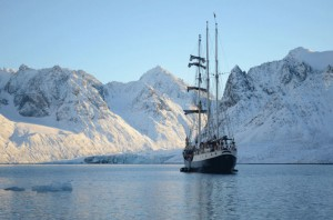 The tall ship will through the waters of the international territory of Svalbard.