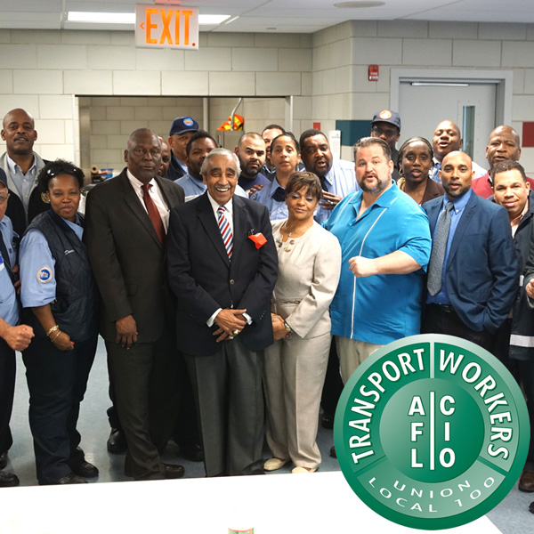 TWU President John Samuelsen and members with local elected officials, including Congressman Charles Rangel, Assemblymember Keith Wright and Councilmember Inez Dickens, all of whom have voiced support for bus operators.