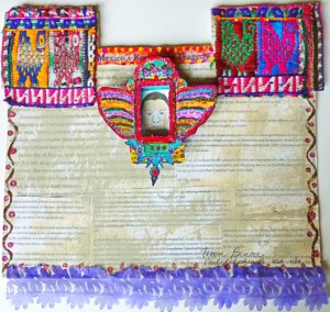Ayotzinapa Huipil Artist: Ellen Benson 2014 / Media: Newsclippings, matchbook, vintage textiles, ribbon.