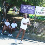 LACOSTE Junior Tennis Academy works with participants ages 8-16.