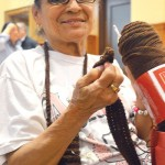 """They know me here,"" said library regular Gloria Davis (with her knitting needles)."